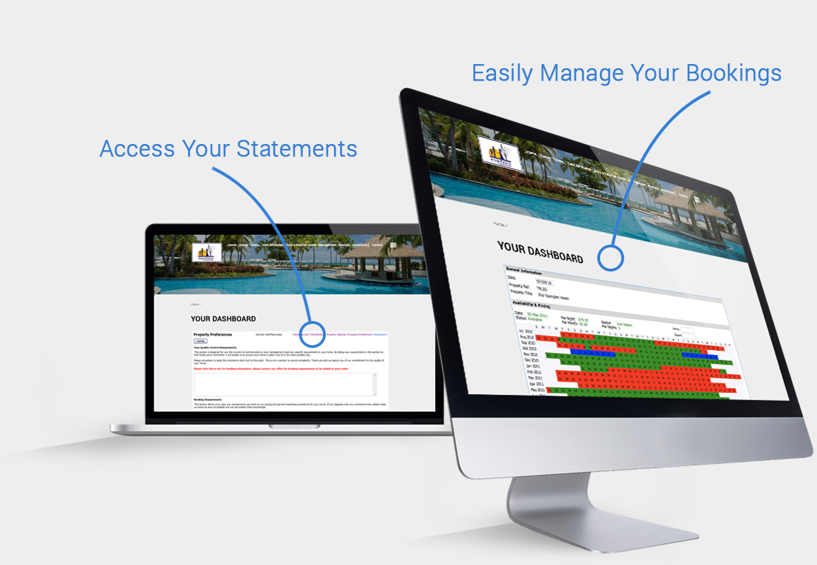 Vacation home management Owner Dashboard